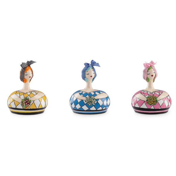 SET 3 MIXED MONEY-BOXES LE PUPAZZE WITH FLOWERS 14X17