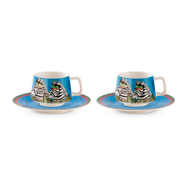 Set 2 Coffee Cups With Saucers Laurel Burch Jungle Azure