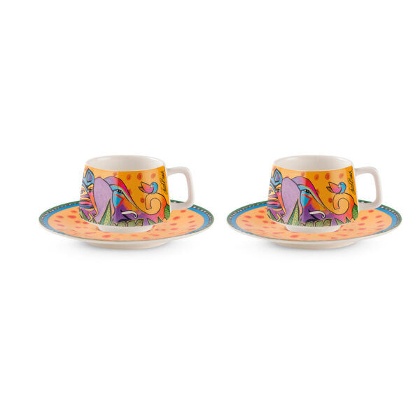Set 2 Coffee Cups With Saucers Laurel Burch Jungle Yellow