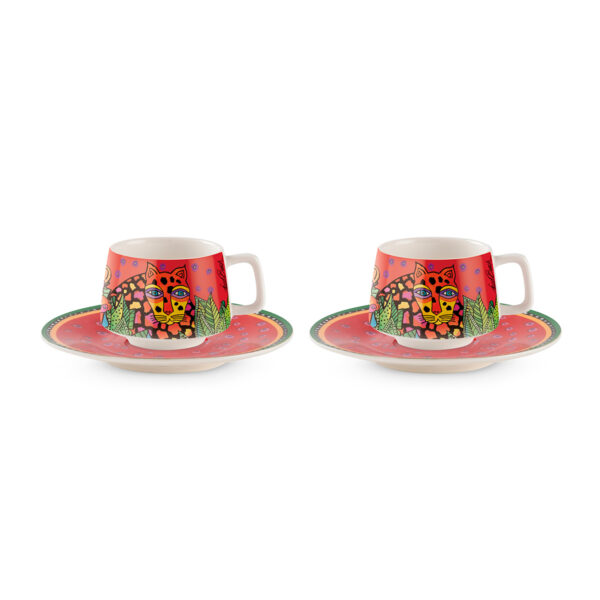 Set 2 Coffee Cups With Saucers Laurel Burch Jungle Red