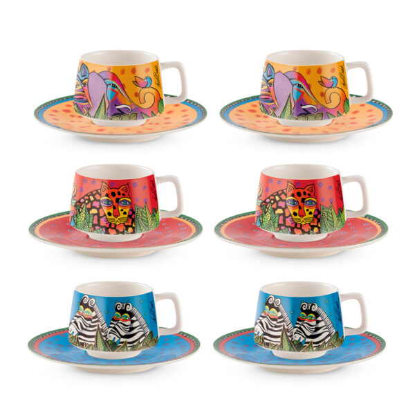 Set 6 Coffee Cups With Saucers Laurel Burch Jungle