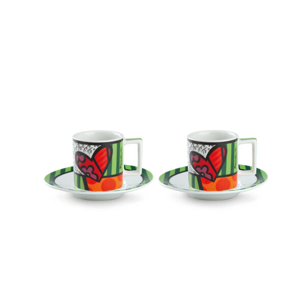 Set 2 Esresso Cups with saucers Britto Heart ML.90
