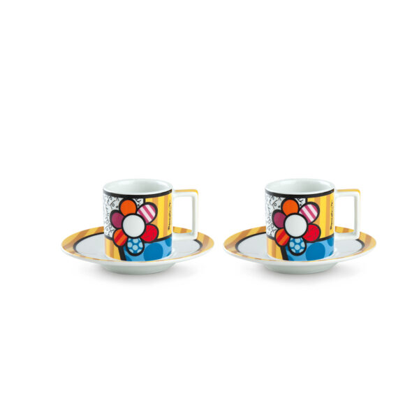 Set 2 Esresso Cups with saucers Britto Flower ML.90
