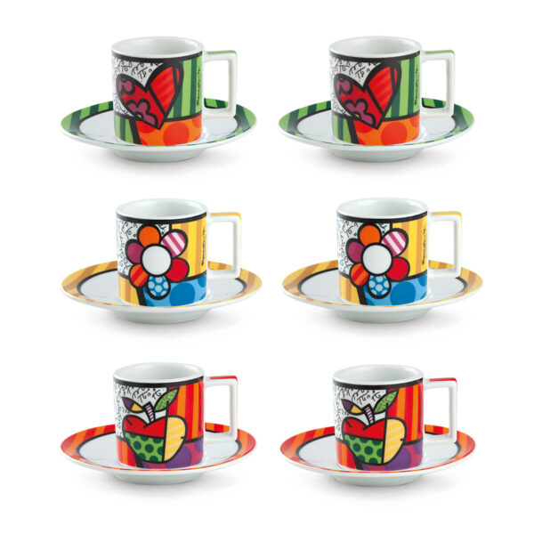 Set 6 Coffee Cups Britto With Saucers