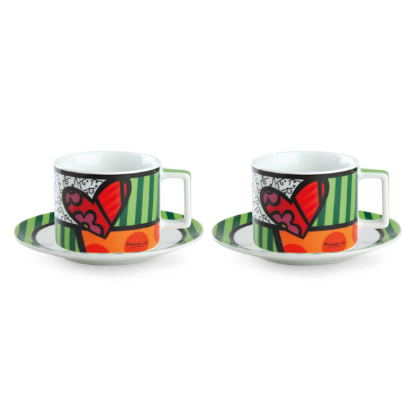 Set 2 Cappuccino Cups with saucers britto Heart ML.220