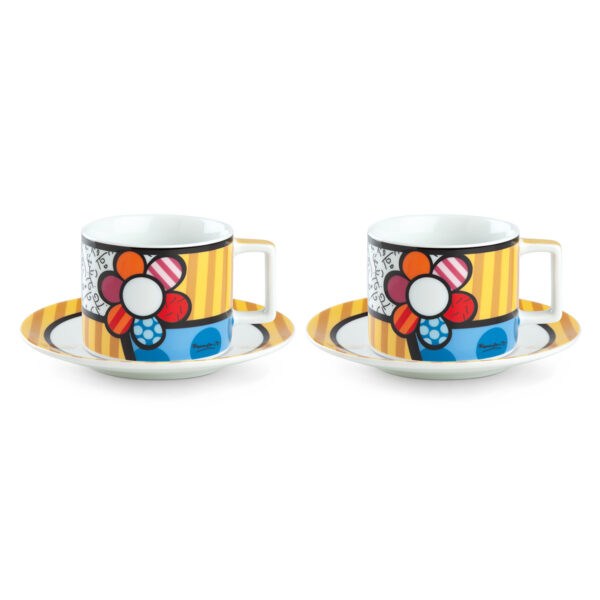 Set 2 Cappuccino Cups with saucers Britto Flower ML.220